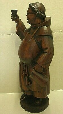 Very Large Antique Black Forest Monk Holding Goblet