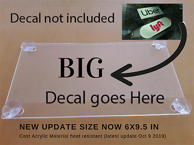 Rideshare Acrylic plain sign include 4 suction cups removable sign