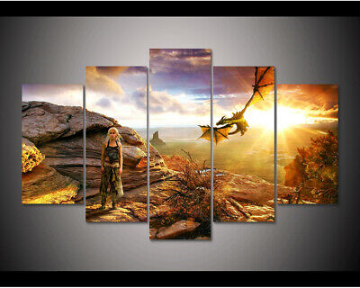 Home Decor Forest Sunset Animals Deer Trees Canvas Print Painting Wall Art 5PCS