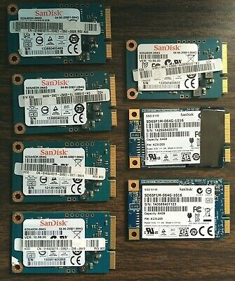 Lot of 7 SanDisk Solid State Drive : 64GB SSD mSATA TESTED/WORKING