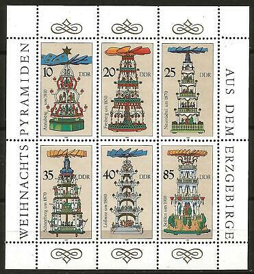 Germany (East) DDR GDR 1987 MNH Minisheet Christmas Pyramids from Erzgebirge