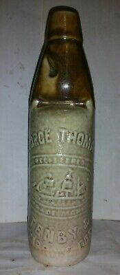 Rare Stoneware George Thomas Tenby And Pembroke Dock Pictorial Codd Bottle