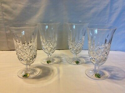 Set of 4 Waterford Crystal Footed Iced Tea Beverage Cup Lismore W/Box SHIPS FREE