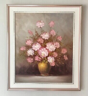 Robert Cox Oil Painting Pink Roses Framed 29x25 Floral Vtg Shabby Cottage Chic
