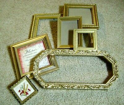 Lot Of Seven '7' Vintage Gold Tone Picture Frames Unique Shapes Wood Resin Other