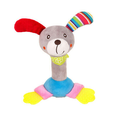 Baby Soft Hanging Rattle Crinkle Squeaky Toy Animal Ring Plush Toy for Infant