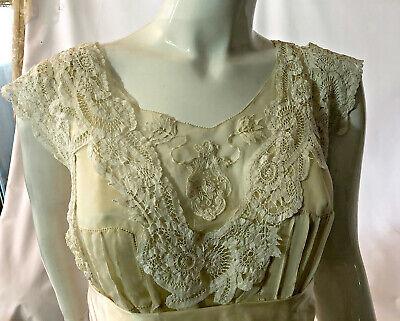 Antique late Edwardian wedding dress, Brussels lace silk provenance 1919 excel