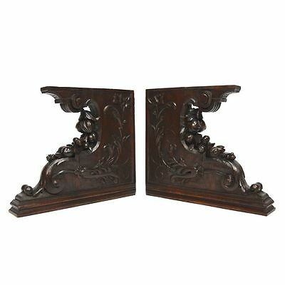 Pair Antique French Carved Oak Architectural Salvaged Corbels Brackets Bookends
