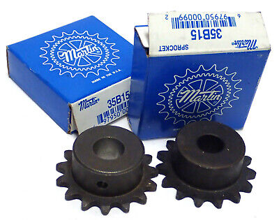 Martin 35B15 Steel Sprocket, 35 / 3/8, Bore 0.5In, Single Pitch, Lot Of 2, New!