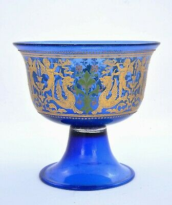 1930's Venetian Bohemian Moser Murano Style Gilt Enamel Glass Bowl Cup Griffin