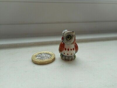 Owl - Pottery - Cute & Collectable Miniature Plump Red/Brown, White & Grey Owl