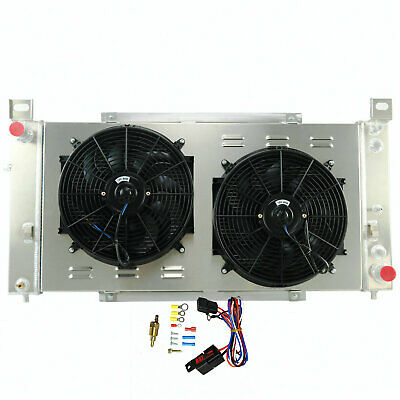 "3 Row Aluminum Radiator /&Shroud Fan 1968-85 Chevy C10 C20 Many GM 28/"" Wide Core"