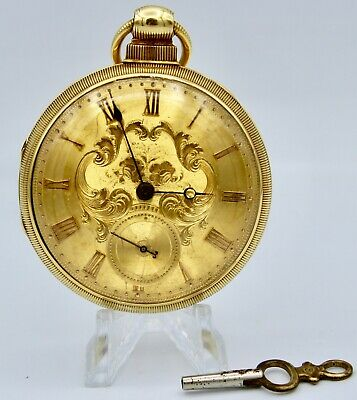 Antique Mid-19th Century Harold & Co. London 18K Gold Fusee Pocket Watch