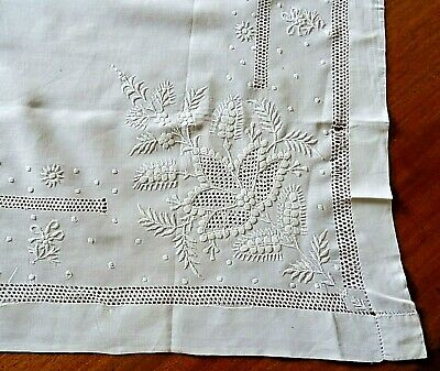 Antique White Linen Hand Embroidered & Drawn Fabric Tablecloth With Initials