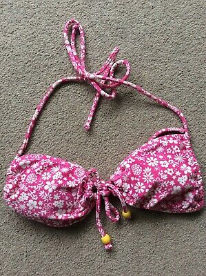 Ladies Size Small Pink Mix Floral Halterneck Bikini Top by Hula Honey