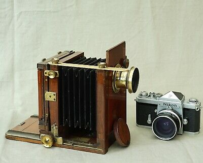 Meagher London 1/4 plate technical tailboard mahogany brass camera c1895