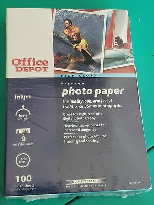 Office Depot Photo Paper 4X6 Ink Jet 100 Sheets Total Premium High Gloss 9 mil