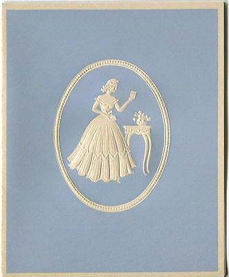 Vintage Girl Cameo Embossed Silhouette Print 1 Persian Siamese Cat Autumn Card