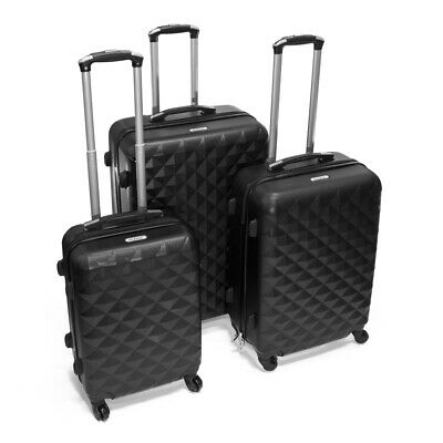 ALEKO ABS Luggage Suitcases for Travel with Combo Lock Diamond Pattern Black