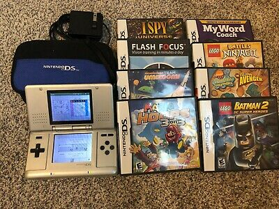 Original Nintendo DS Silver Handheld System With Charger AND 8 GAMES Mario Hoops