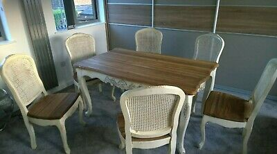 Shabby Chic Dining Table And Six Chairs LOCAL DELIVERY AVAILABLE