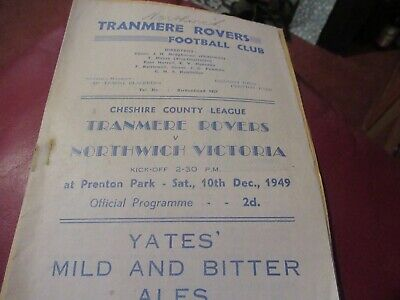 Programme, Cheshire League,Tranmere V Northwich.10/12/1949/50