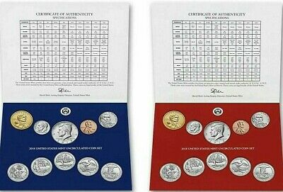 "2019 P & D 20-Coin Annual Uncirculated Coin Sets☆☆No ""W""  Cent☆☆US Mint Box☆☆"