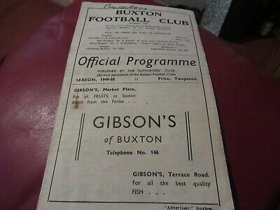 Programme, Cheshire League, Buxton V Northwich. 26/11//1949/50