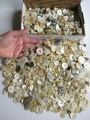 3+ Pounds Lbs Nice Quality Mother of Pearl Shell Vintage MOP Buttons Lot C