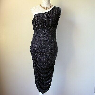 0b46932c BNWT JANE NORMAN Glitter One Shoulder Party Dress Black Stretch Size 14 RRP  £40