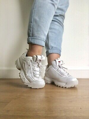 WOMENS FILA DISRUPTOR WHITE PATENT OLD SKOOL CHUNKY TRAINERS SIZE 5 With Box
