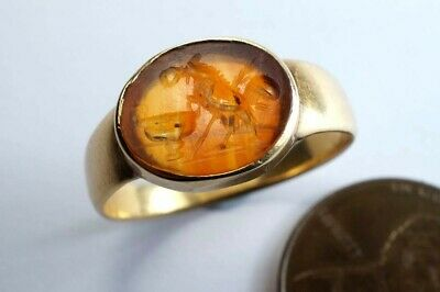 ANTIQUE 18K GOLD SIGNET RING c1780 w/ ANCIENT ROMAN AGATE INTAGLIO SEAL