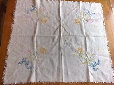 Vintage embroidery tablecloth linen, floral, fringe, 27 and a 1/2 in X 31 in.