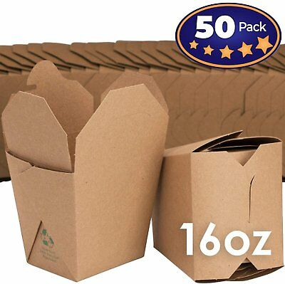 Microwavable Brown Chinese 16 oz Take Out Boxes. 50 Pack by Avant Grub...