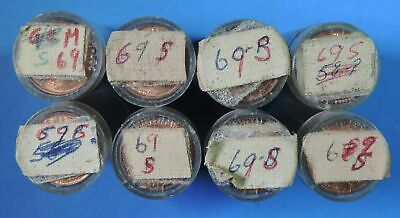 8 Rolls of 1969 S BU Brilliant Uncirculated Lincoln Memorial Cent Penny