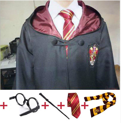 Harry Potter Gryffindor Slytherin Cloak Robe Tie Scarf Wand Cosplay Costume Set