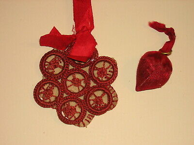 Antique Vintage Shaker? Strawberry Emery & Needle Book Sewing Pin Cushion