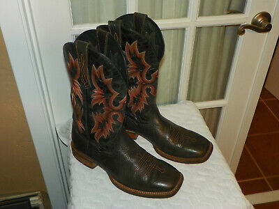 775e9530e9f ARIAT SQUARE TOE Tombstone Western Cowboy Boots Sz 4.5 Youth Boys ...