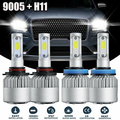 H11 Combo Total 2Pairs 3000W 450000LM LED Headlight Kit High Low Beam 6000K H7