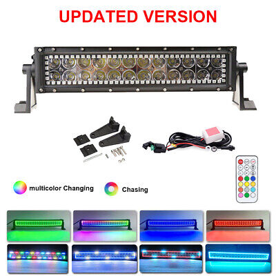 13.5inch 72W Off-road LED Work Light Bar with RGB HALO RING CHASING Remote 14''