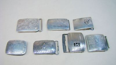 7 Silver Buckles Vintage Hickok Sterling Deco Initials Etc. Lot