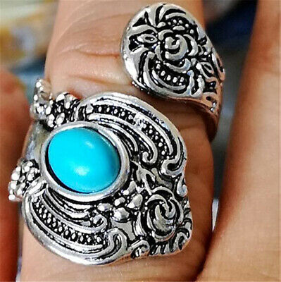 Open Turquoise Unique Vintage Spoon Ring Silver Plated Thumb Band Sizes 6-10 NEW