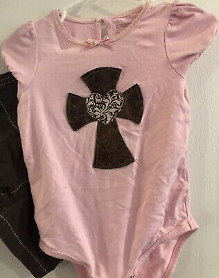 Cherokee Girls 18 Months Shorts Outfit Pink Brown Cross Heart Leather Appliqué