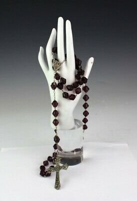 Sterling Silver 925 Crucifix w Amethyst Glass Beaded Catholic Prayer Rosary RSM