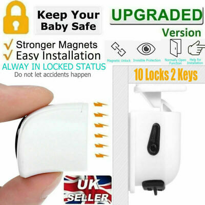 10X Invisible Lock Magnetic Baby Safety Locks Cupboard Cabinets Drawers 2 Keys