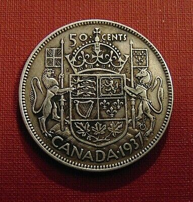 CANADA 1937 50 cents silver half dollar fifty cent piece KING GEORGE VI C