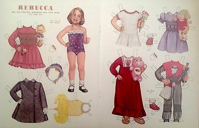 Vintage Pat Stall REBECCA & her Clothes & Toys from 1985 Paper Doll Uncut