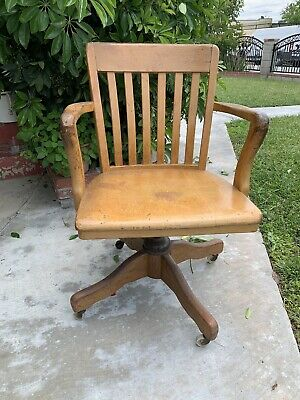 Vintage WOOD OFFICE CHAIR swivel desk industrial Banker Lawyer