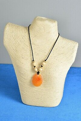 """17"""" Vintage Handcrafted Artisan Necklace with Amber Color Pendant Drop"""