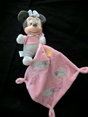 Doudou Peluche Minnie Mouchoir Rose Blanc Étoile gris Mouton Disney Baby 2 dispo
